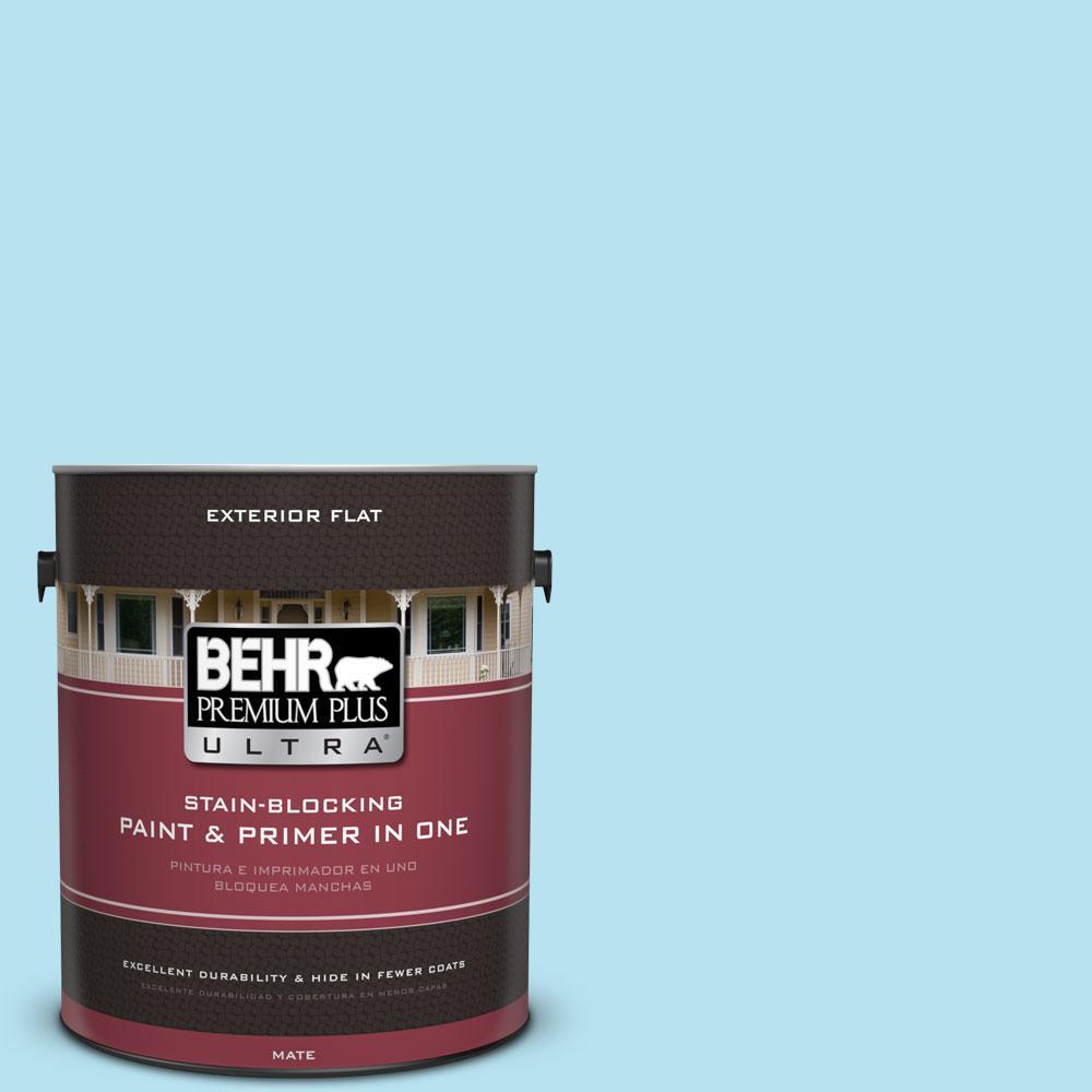 BEHR Premium Plus Ultra 1-gal. #P490-1 Ocean Front Flat Exterior Paint