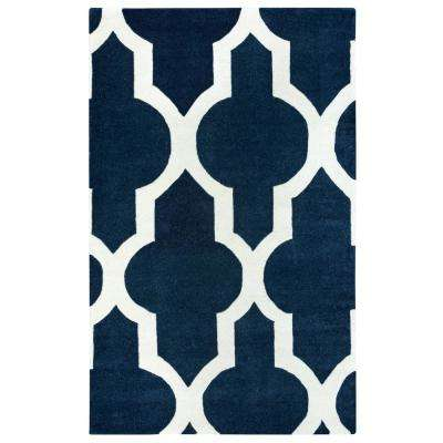 Volare Navy Trellis Hand Tufted Wool 2 ft. x 3 ft. Accent Rug