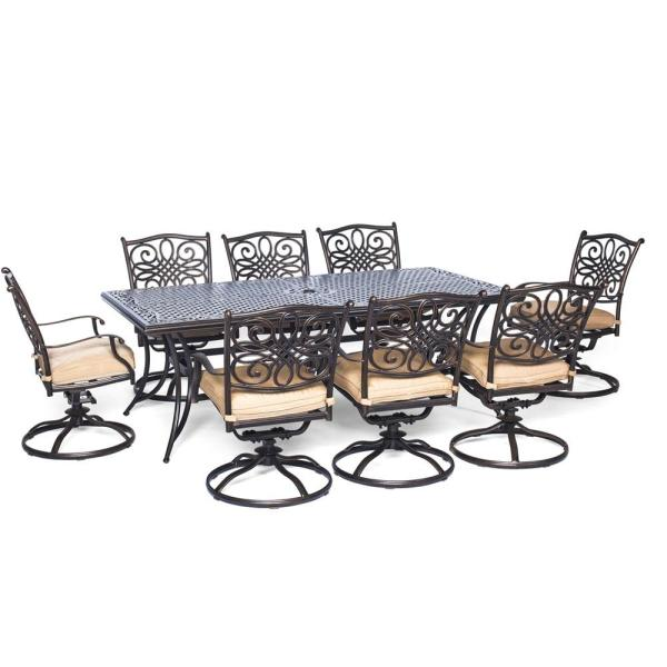 Cambridge Seasons 9 Piece Aluminum Outdoor Dining Set With Tan Cushions With 8 Swivel Dining Chairs And Dining Table Seasdn9pcsw 8 The Home Depot