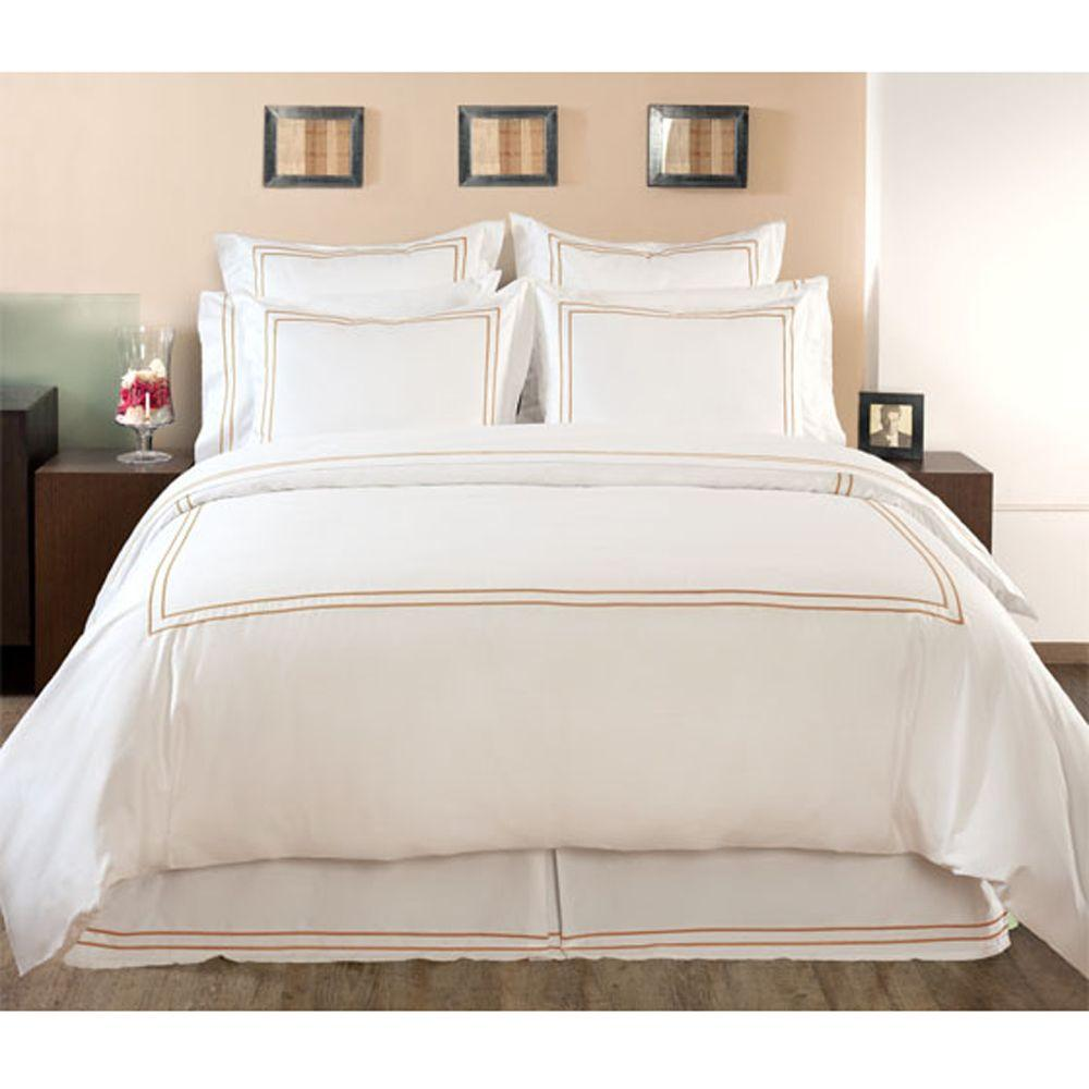 Home Decorators Collection Embroidered Craft Brown Full/Queen Duvet