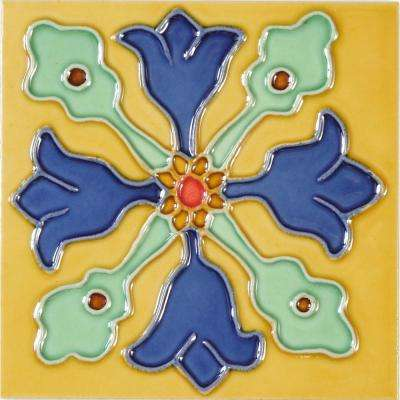 Hand-Painted Ceramic Hermosa 6 in. x 6 in. x 6.35 mm Glazed Ceramic Wall Tile (2.5 sq. ft. / case)
