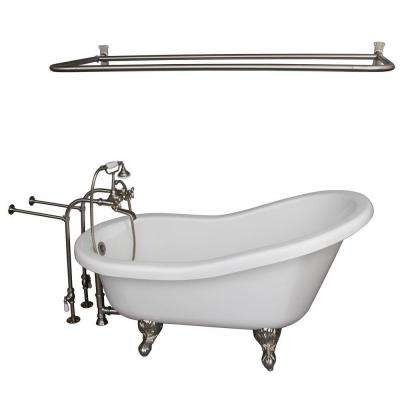 5.6 ft. Acrylic Ball and Claw Feet Slipper Tub in White with Brushed Nickel Accessories