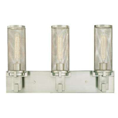 Adler 3-Light Brushed Nickel Wall Mount Bath Light
