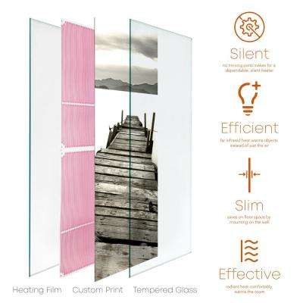 Glass Heater 750-Watt Radiant Wall Hanging Decorative Glass Heat Panel - Ponton Islander