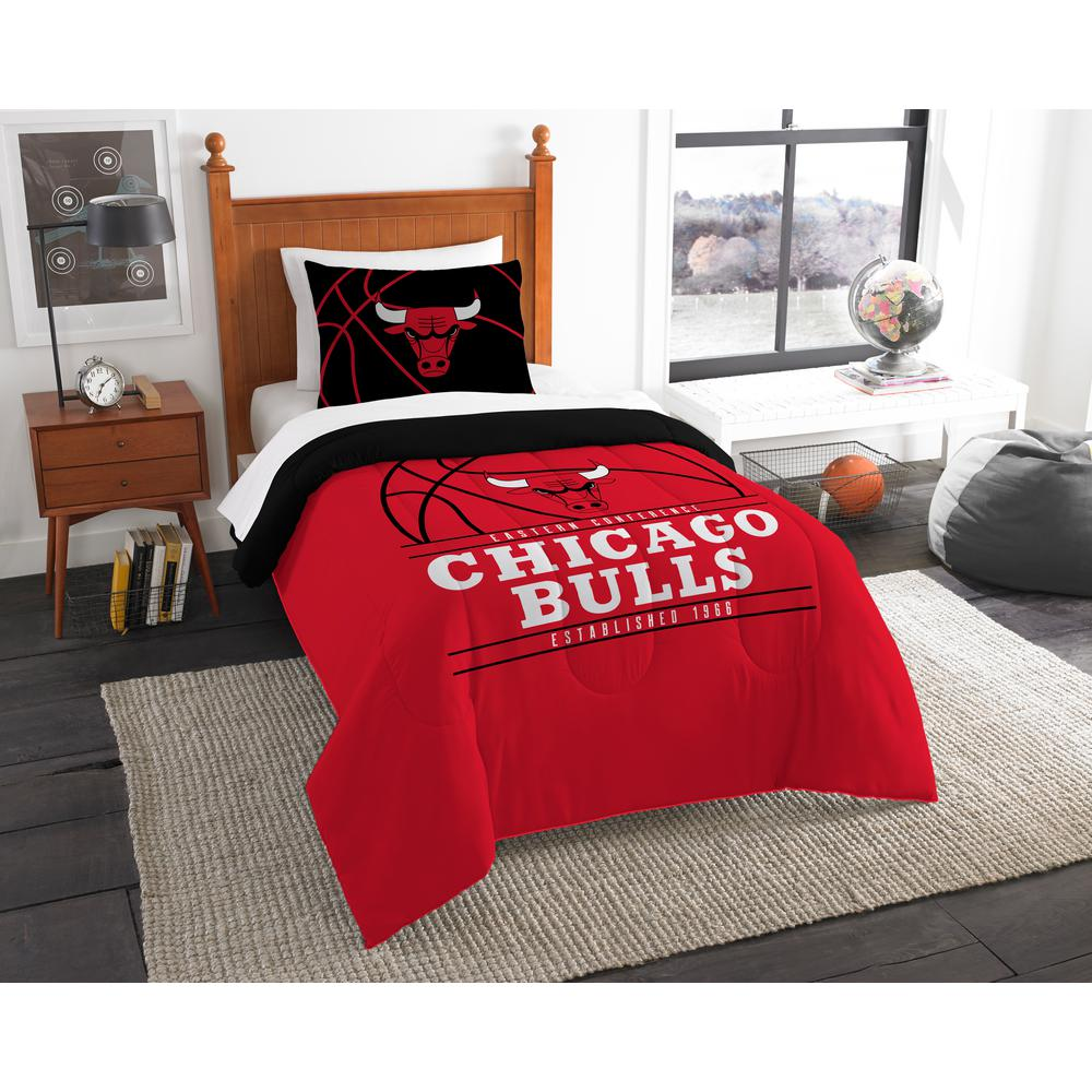 Bulls 2 Pc Multi Color Polyester Reverse Slam Twin Comforter Set
