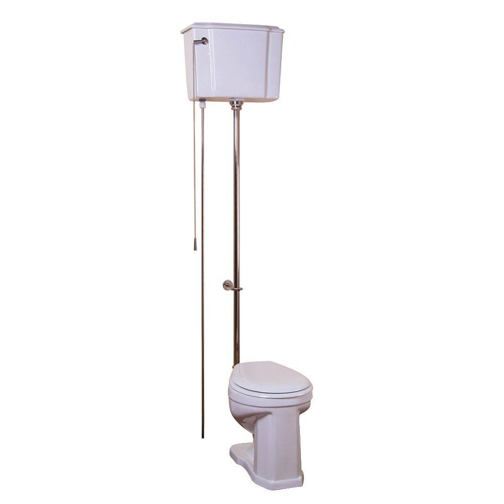 Pegasus Victoria 2-piece 1.6 GPF Round High Tank Water Closet Toilet in White with Satin Nickel Trim