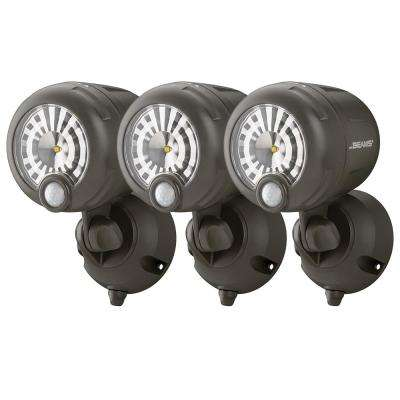 Wireless 120-Degree Bronze Motion Sensing Outdoor Integrated LED Security Spot Light (3-Pack)