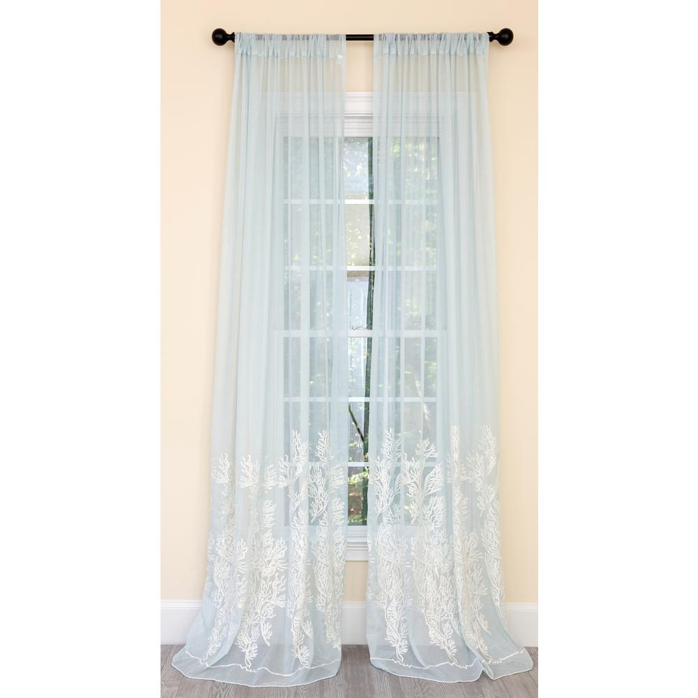 Manor Luxe Vivid Ocean Coral Embroidered Semi Sheer Rod Pocket Curtain Single Panel in Aqua Blue - 54 in. x 108 in.