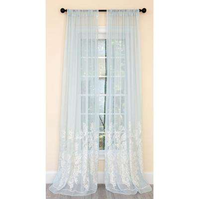Vivid Ocean Coral Embroidered Semi Sheer Rod Pocket Curtain Single Panel in Aqua Blue - 54 in. x 120 in.