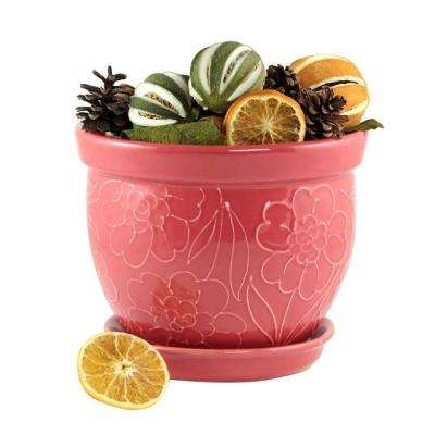 11 in. Pomelo Zinnia Bell Red Ceramic Planter with Saucer
