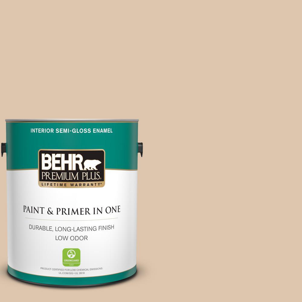 BEHR Premium Plus 1 gal. #PPU4-08 Plateau Semi-Gloss Enamel Low Odor Interior Paint and Primer in One