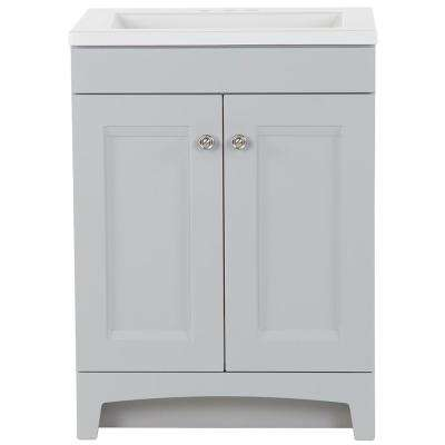 Delridge 24 in. W x 19 in. D Bath Vanity in Pearl Gray with Cultured Marble Vanity Top in White with White Basin