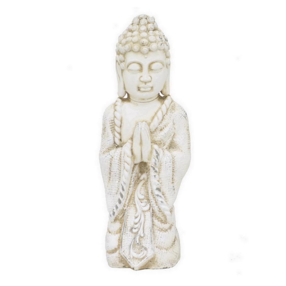 5.25 in. x 5.25 in. Kneeling Buddha in White
