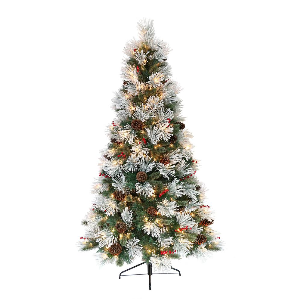 Pre Lit Flocked Artificial Christmas Trees: Puleo International 7.5 Ft. Pre-Lit Flocked Pacific Pine