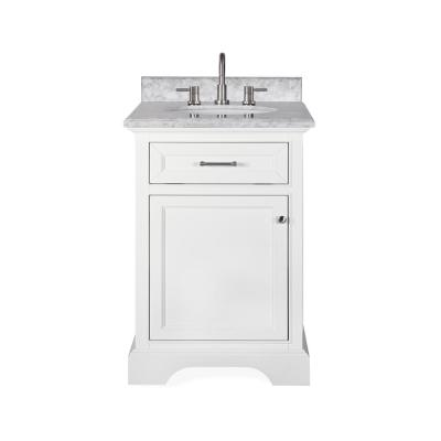 Windlowe 25 in. W x 22 in. D x 35 in. H Bath Vanity in White with Carrera Marble Vanity Top in White with White Sink