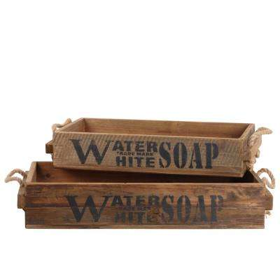 Brown Wood Decorative Tray (Set of 2)