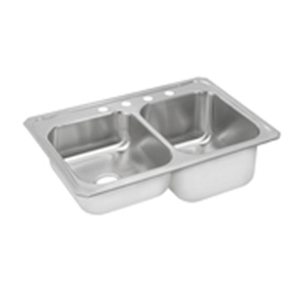 Celebrity Drop-In Stainless Steel 33 in. 4-Hole Double Bowl Kitchen Sink