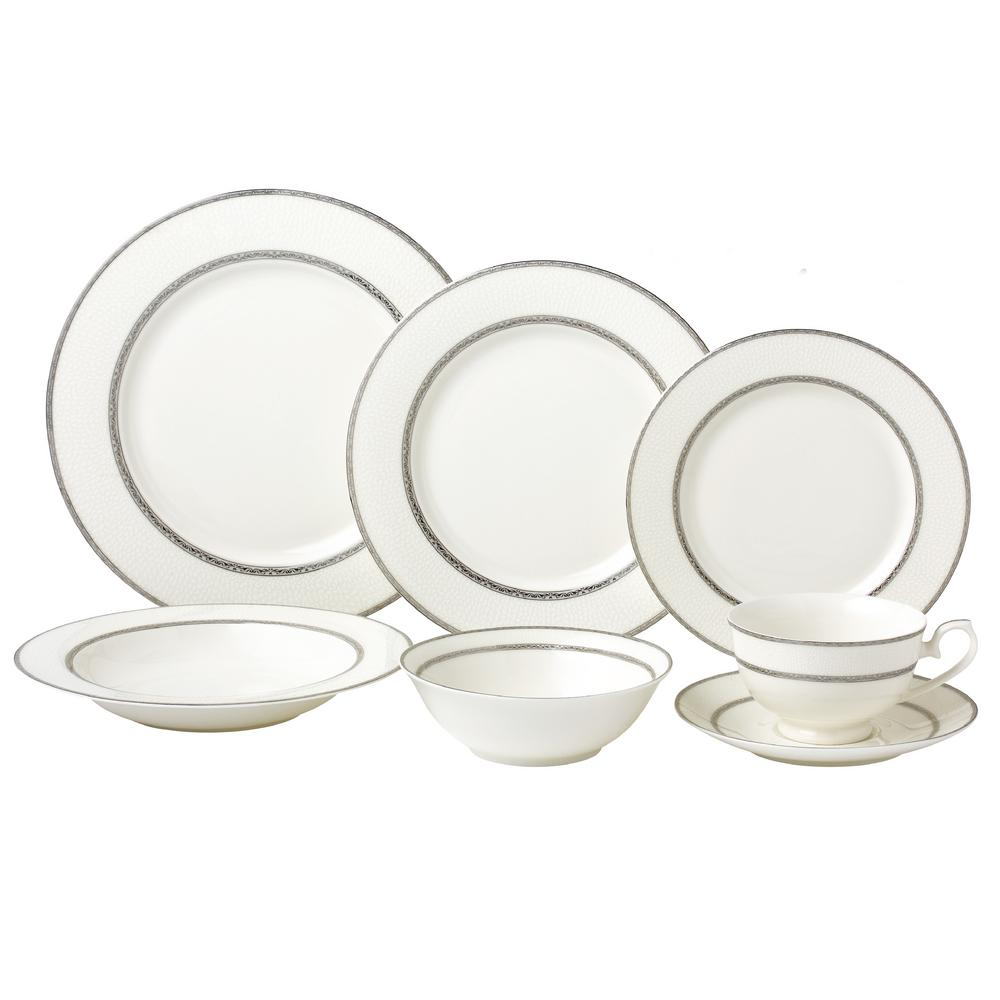 Lorren Home Trends Arianna 28-Piece Silver Accent New Bone China Service Dinnerware Set for  sc 1 st  Home Depot & Lorren Home Trends Arianna 28-Piece Silver Accent New Bone China ...