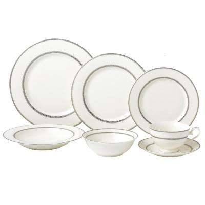 Arianna 28-Piece Silver Accent New Bone China Service Dinnerware Set for 4-People