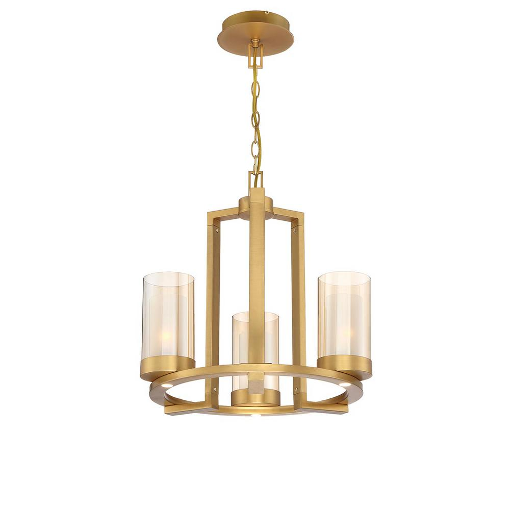 Home Decorators Collection Samantha 18 in. 3-Light 60-Watt LED Brass Chandelier