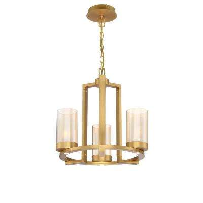 Samantha 18 in. 3-Light 60-Watt LED Brass Chandelier