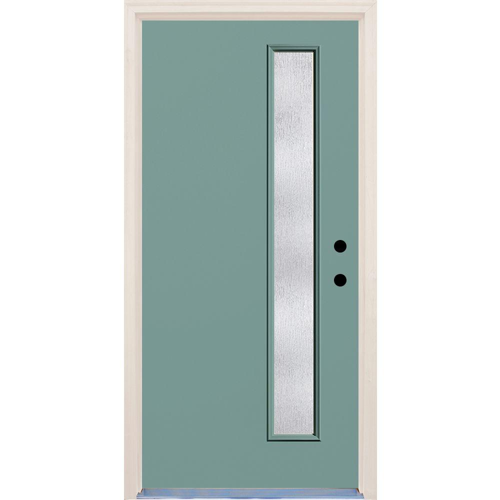 Builder's Choice 36 in. x 80 in. Left-Hand Surf 1 Lite Rain Glass Painted Fiberglass Prehung Front Door with Brickmould