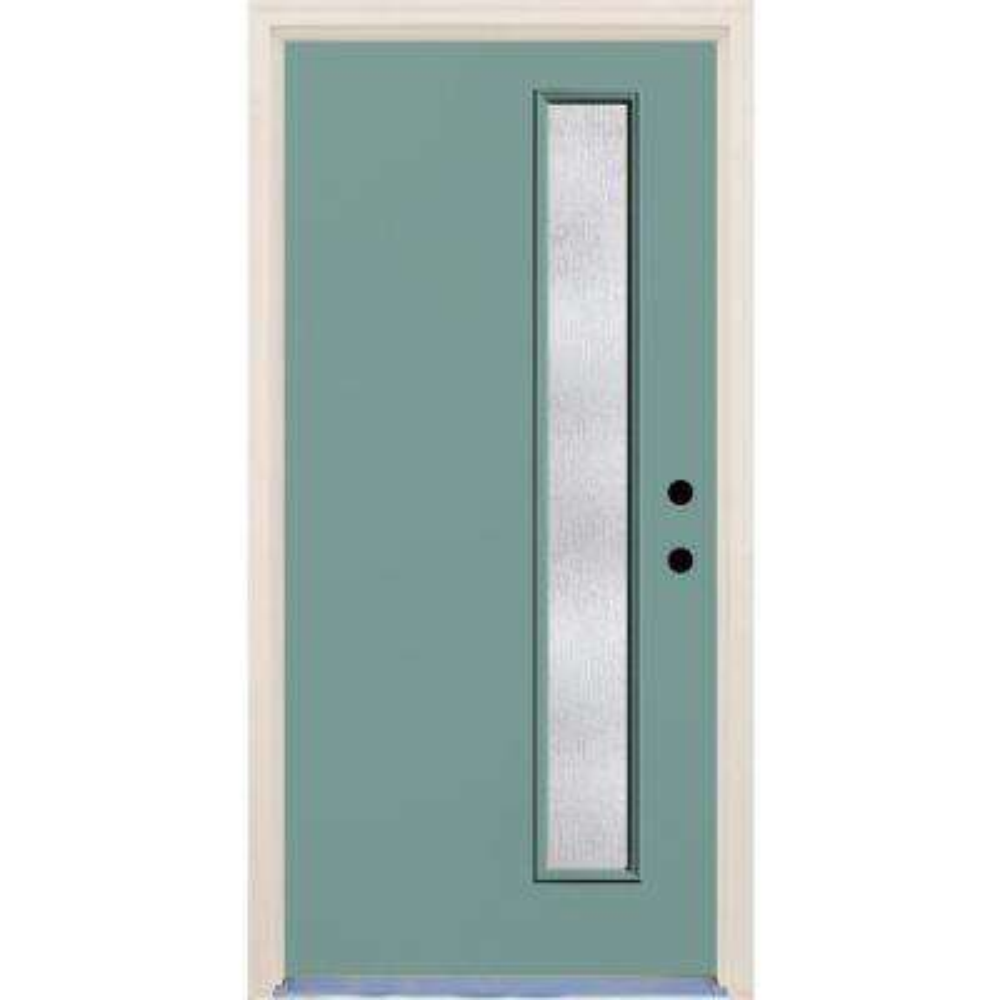 36 in. x 80 in. Left-Hand Surf 1 Lite Rain Glass Painted Fiberglass Prehung Front Door with Brickmould