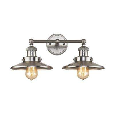 English Pub 2-Light Satin Nickel Vanity Light