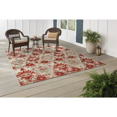 Ikat Red/Cream 5 ft. x 7 ft. Distressed Indoor/Outdoor Area Rug
