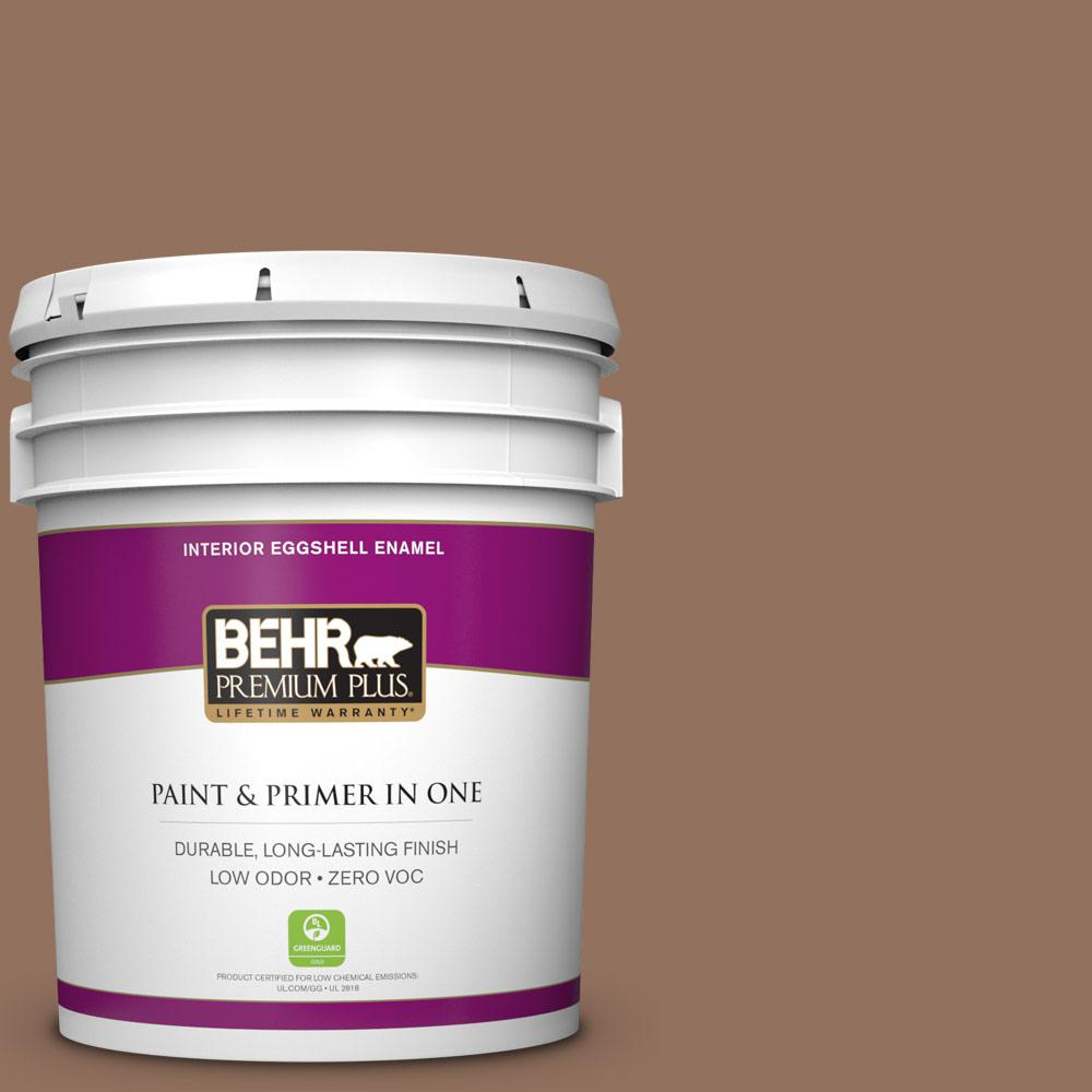5 gal. #BXC-84 Corral Brown Zero VOC Eggshell Enamel Interior Paint
