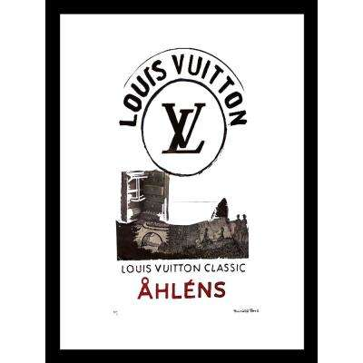 """30 in x 24 in"" ""Ahlens"" Vintage Louis Vuitton Ad by Fairchild Paris Framed Printed Wall Art"