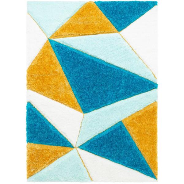 San Francisco Venice Blue Modern Geometric Abstract 7 ft. 10 in. x 9 ft. 10 in. 3D Carved Shag Area Rug