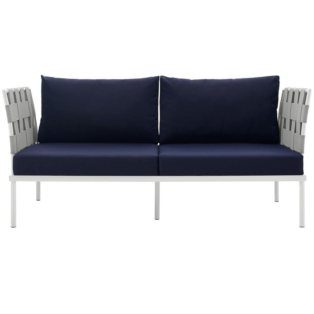 MODWAY Harmony Aluminum Patio Outdoor Loveseat in White with Navy Cushions