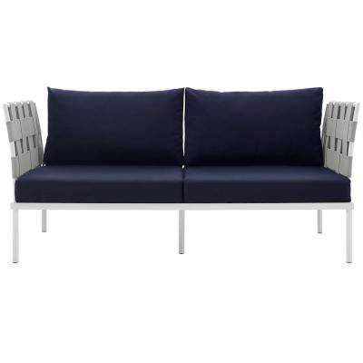Harmony Aluminum Patio Outdoor Loveseat in White with Navy Cushions