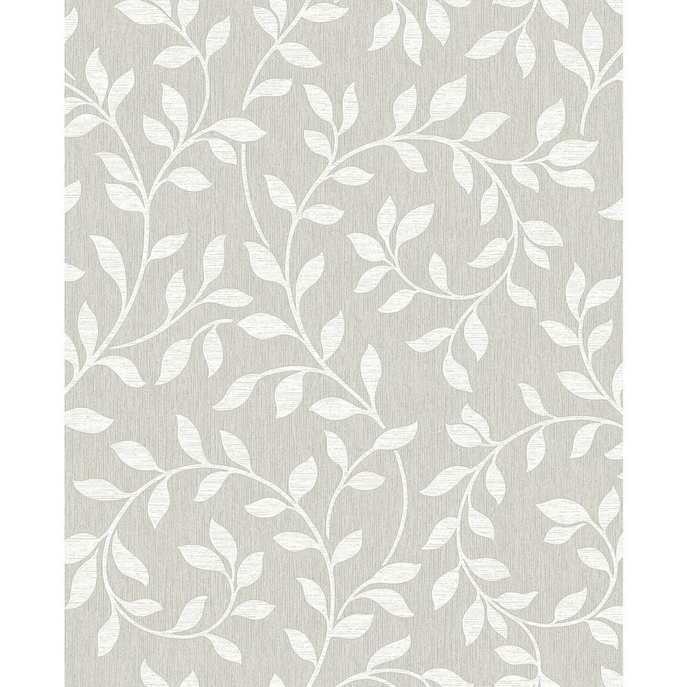 Advantage 56.4 sq. ft. Torrey Light Grey Leaf Trail Wallpaper 2811-87725