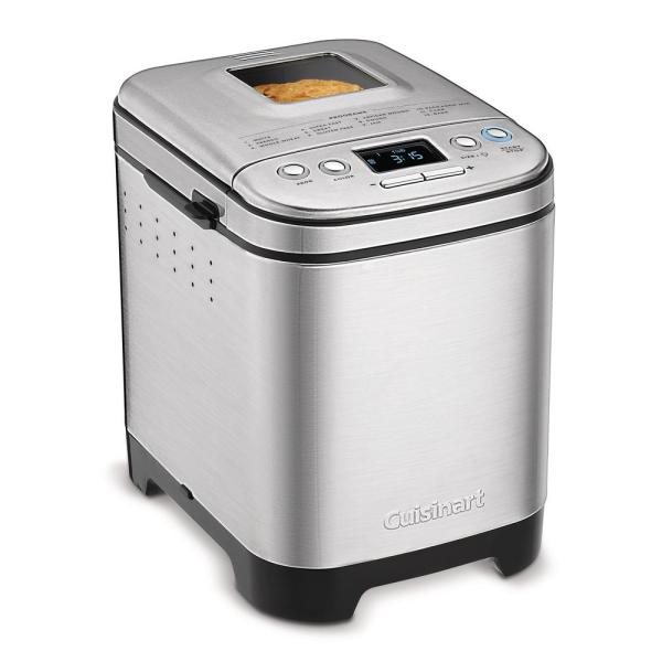 Automatic 2 lb. Brushed Stainless Steel Bread Maker with Gluten-Free Setting