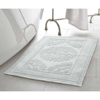 Stonewash Medallion 21 in. x 34 in. Cotton Bath Rug in Aqua
