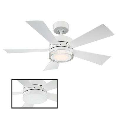 Wynd 42 in. LED Indoor/Outdoor Matte White 5-Blade Smart Ceiling Fan with 3000K Light Kit and Wall Control