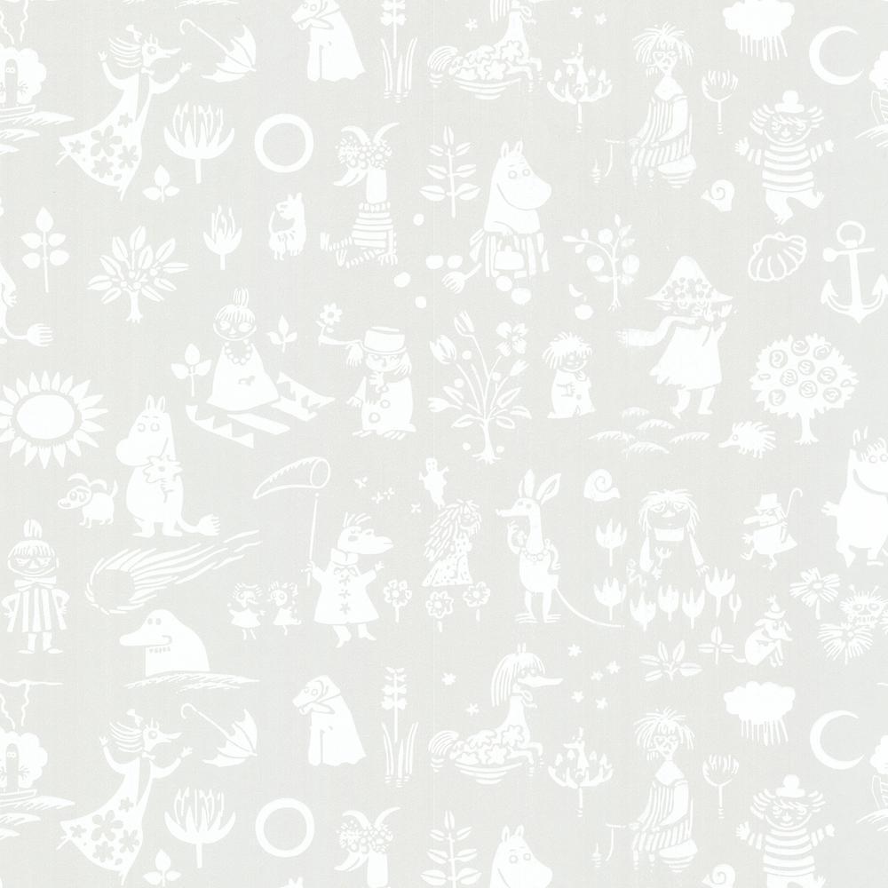 Moomin Light Grey Novelty Wallpaper Sample