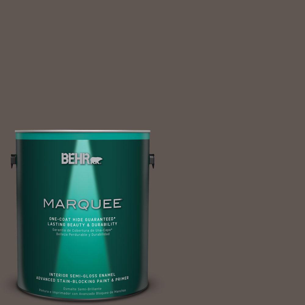 1 gal. #N140-7 Timber Brown One-Coat Hide Semi-Gloss Enamel Interior Paint