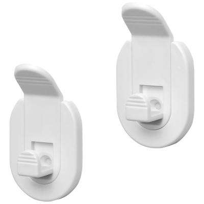 SALI White Adhesive or to Be Fixed Detachable Towel and Robe Hooks (Set of 2)