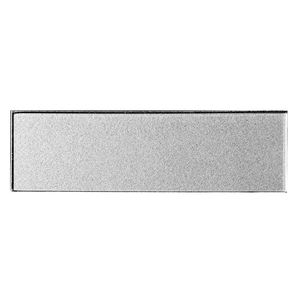 ABOLOS Subway 3 in. x 12 in. Handmade Metallic Silver Glossy Glass Peel & Stick Decorative Bathroom Wall Tile Backsplash Sample