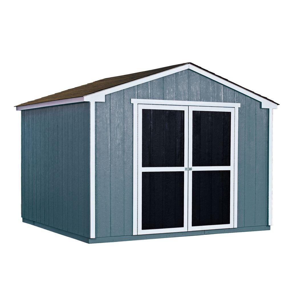 Handy Home Products Installed Princeton 10 ft. x 10 ft. Wood Storage Shed with Driftwood Shingles