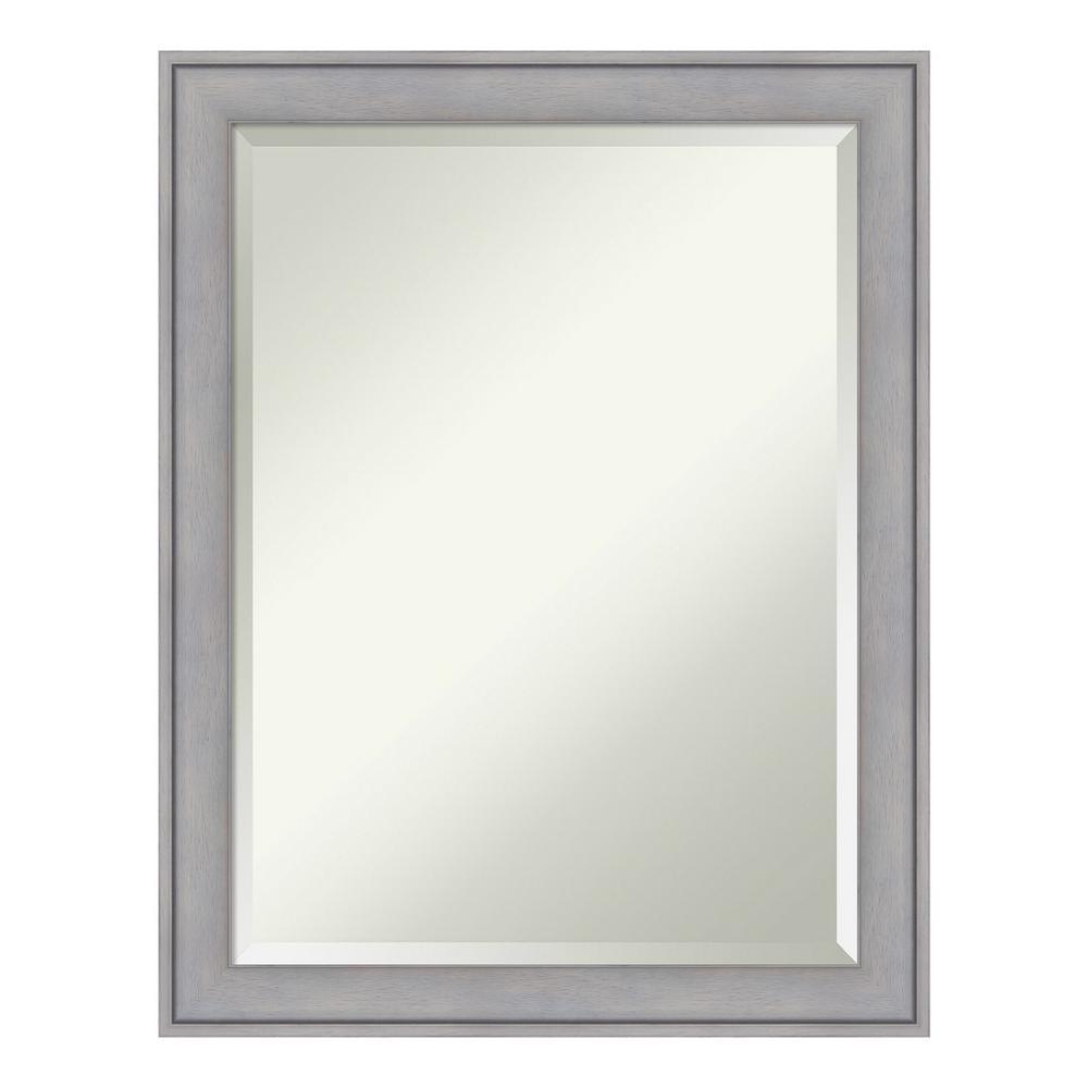 Graywash Wood 22 in. x 28 in. Contemporary Bathroom Vanity Mirror