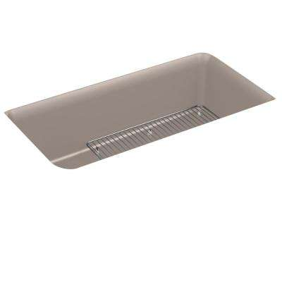 Cairn Neoroc Undermount Granite Composite 33.5 in. Single Bowl Kitchen Sink Kit in Matte Taupe