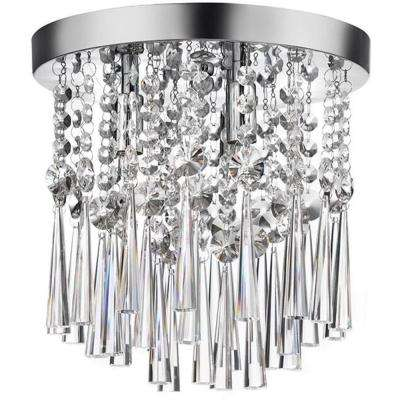 10 in. 3-Light Chrome and Crystal Flushmount