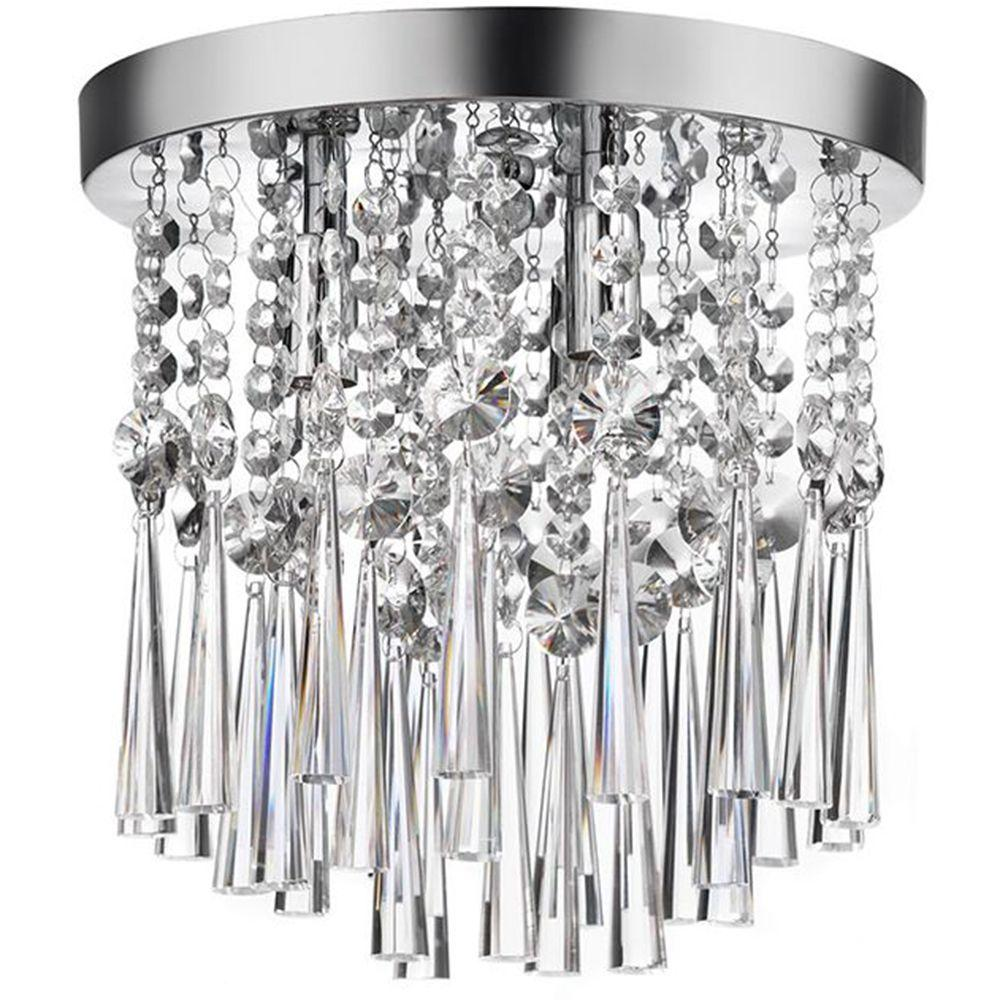Home decorators collection 10 in 3 light chrome and crystal flush mount