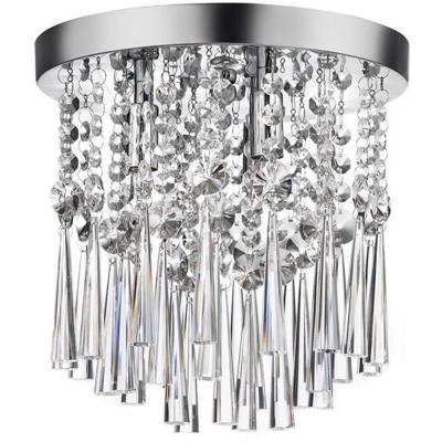 10 in. 3-Light Chrome and Crystal Flush Mount