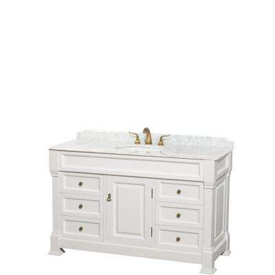 Andover 55 in. W x 23 in. D Bath Vanity in White with Marble Vanity Top in White with White Basin