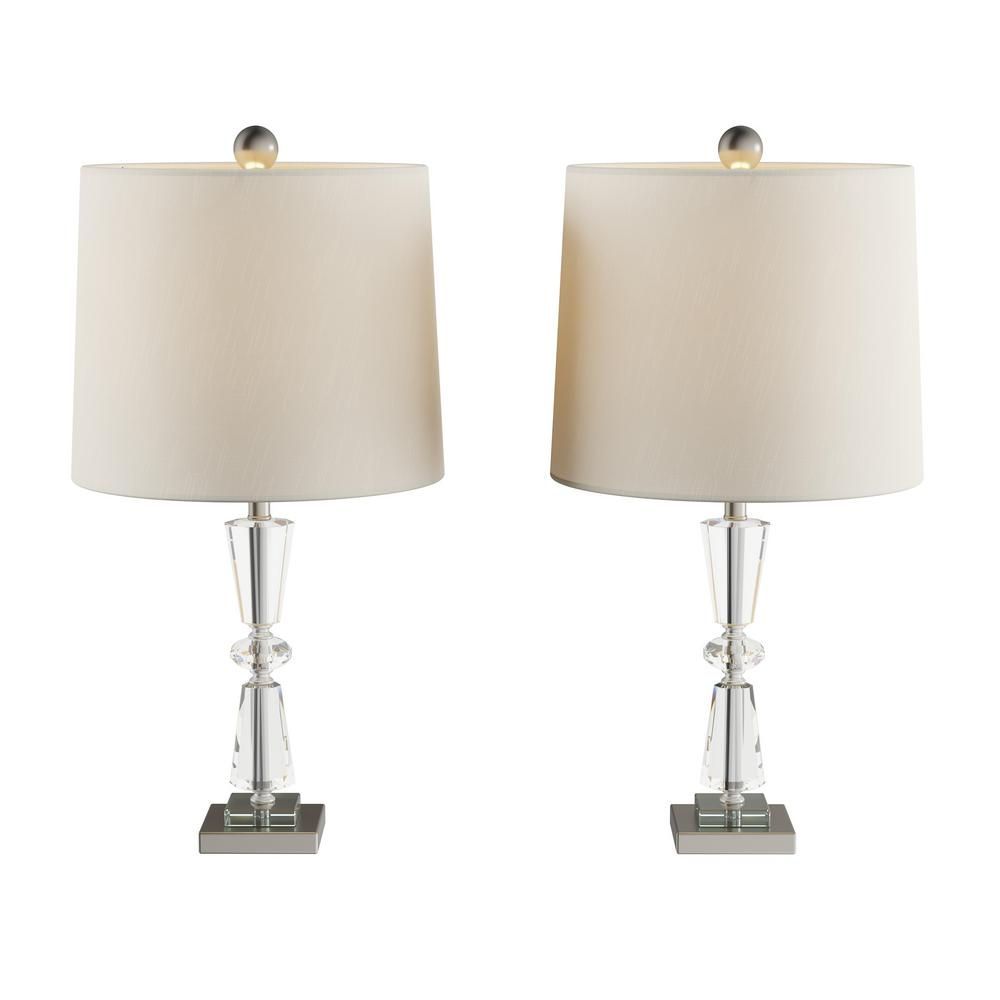 Lavish Home 23 in. Crystal Double Tiered Table Lamps (Set of 2)